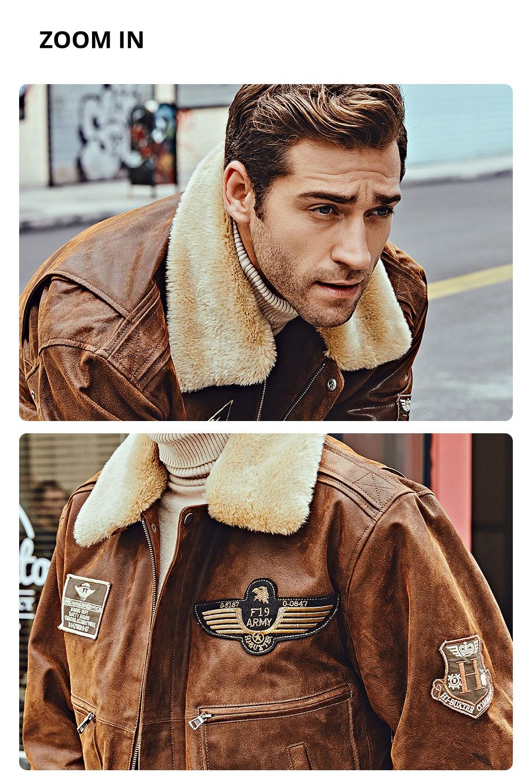 Hc4191a17c7dc4cb8bac864648c4b43d4O FLAVOR New Men's Real Leather Bomber Jacket with Removable Fur Collar Genuine Leather Pigskin Jackets Winter Warm Coat Men