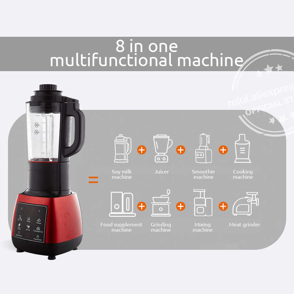 Miui juicer liquidificador misturador juicer processador de alimentos frutas smoothies gelo & sopa quente 1.2l para bancada da cozinha & temporizador automático