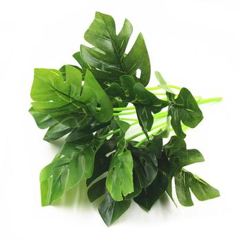 Artificial Plants Plastic Grass Artificial Turtle Leaves Wall Green Plant Accessories Wedding Decoration Potted Fake Flowers image