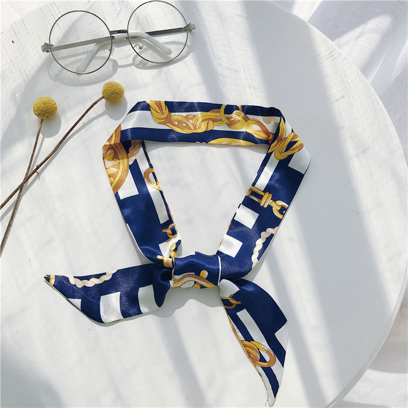 Temperament Women Scarf Autumn Silk Scarf Small Ribbon Colorful Elegant All-match Concise Printed Personality Neckerchief New