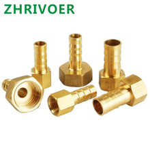 цена на 1/8 1/4 1/2 3/8 BSP Female Thread Copper Connector Joint Coupler Adapter Brass Hose Fitting 4mm 6mm 8mm 10mm 19mm Barb Tail