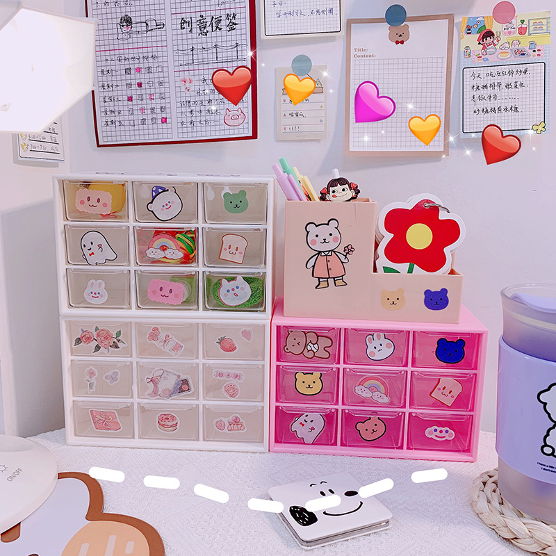 Girl Heart In Jiugongge Dust-proof Drawer Storage Box Desktop Stationery Jewelry Hand Account Cosmetic Storage Box