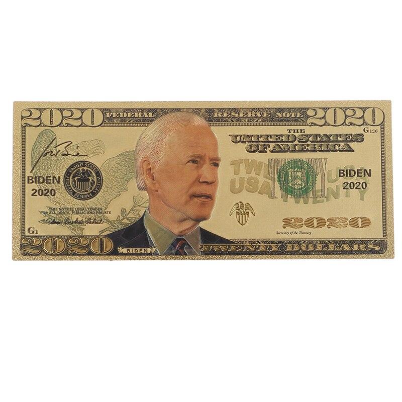 Позолоченная памятная банкнота Biden America с изображением выборов, 1 шт.