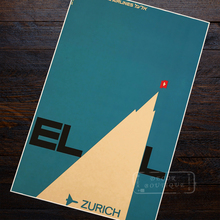 Suiza EL AL Israel Airlines paisaje cartel de viaje Retro Vintage pintura de la lona de arte de la pared de Casa carteles para Bar Decoración
