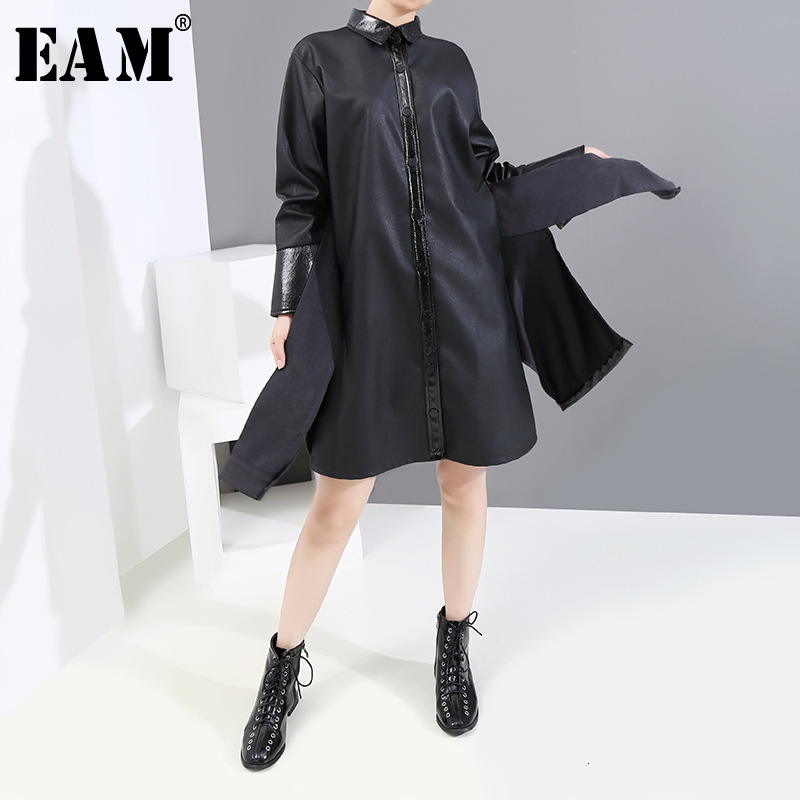 [EAM] Women Black Pu Leather Asymmetrical Trench New Lapel Long Sleeve Loose Fit Windbreaker Fashion Autumn Winter 2019 19A-a378