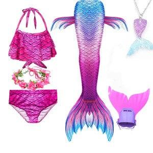 Image 1 - Girls Mermaid Tail Swimsuit 3 pcs Bikini Bathing Swimming Costumes Children Cosplay Dress With Monofin Fin Birthday gift