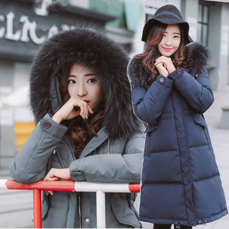 Winter 2020 Down Jacket Woman Hooded Real Fur Collar Thick Duck Down Coat Jackets For Women Parka Chaqueta Mujer KJ373 S