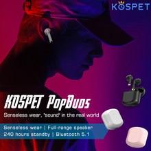 Tws bluetooth 5.1 fones de ouvido KOSPET PopBuds caixa carregamento esportes à prova dwaterproof água fones sem fio com microfone