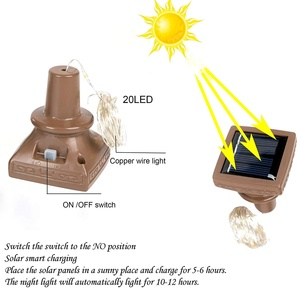 Image 3 - Solar Powered Wine Bottle Lights, 6/12 Pack 20 LED Waterproof Warm White Copper Cork Shaped Lights for Wedding Pathway Decor