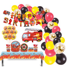 Fire Truck Birthday Balloons Party Decoration Disposable Plates Napkins Tableware Fireman Firefighter Baby Shower Party Supplies