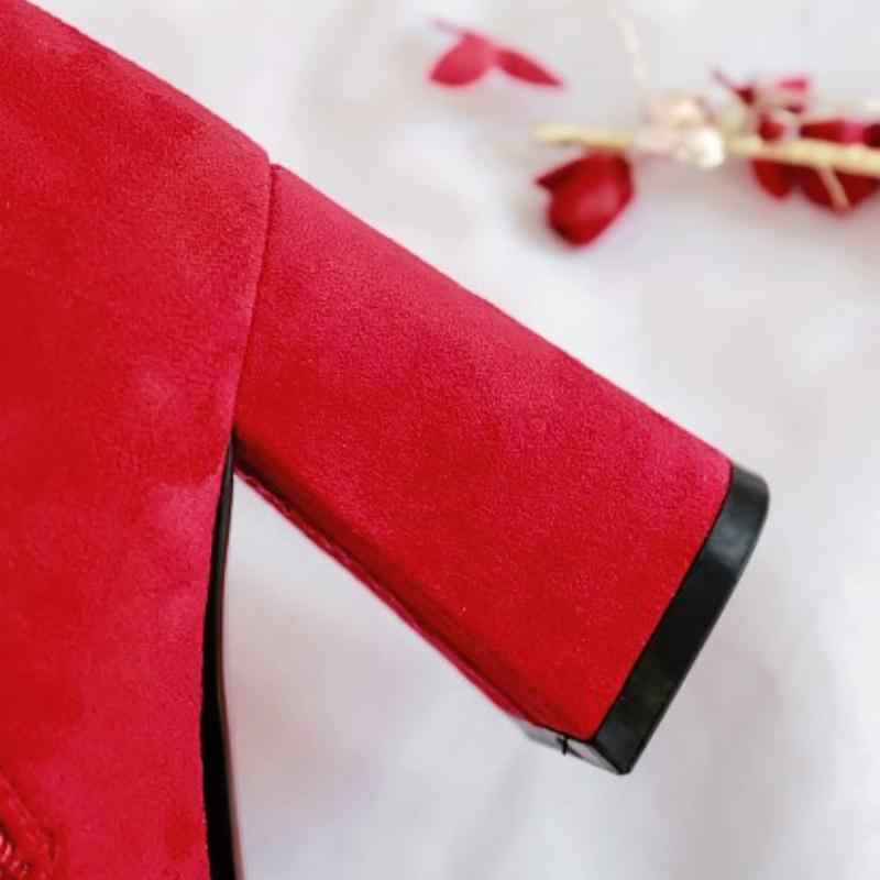 Tuyoki Plus rozmiar 33-46 botki dla kobiet modny haft buty ślubne kobiety zimowe futro ciepły zamek wysokie buty na obcasie
