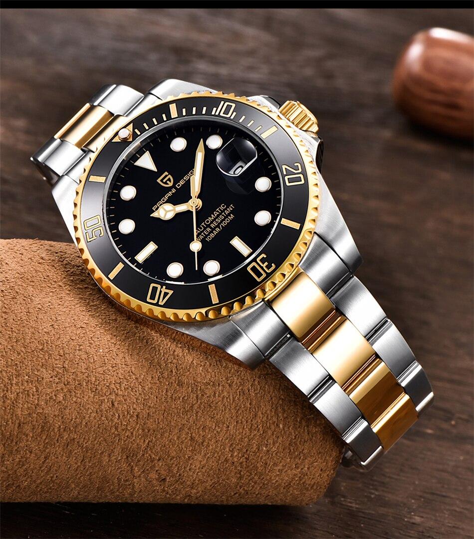 Hc419ecdfa92340858912f39ca98b3a93s PAGANI2019 Design Brand Luxury Men Watches Automatic Black Watch Men Stainless Steel Waterproof Business Sport Mechanical