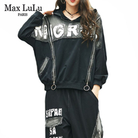 Max LuLu Spring 2020 Korean Fashion Ladies Tops Harem Pants Womens Two Piece Sets Denim Tracksuit Vintage Hooded Printed Outfits