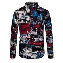 Linen Shirts Men Ethnic style Floral graffiti Stand collar Unique button design Long sleeves Blouse Men Shirt stand collar fashion leaves printed vintage button design shirts for men