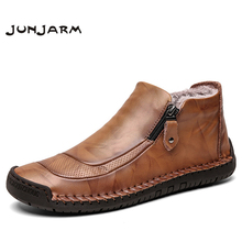 JUNJARM Autumn Winter Handmade Outdoor Men Snow Boots Leather Men Ankle Boots Zipper Warm Fur Men's Casual Boots Big Size 48 unisex leather boots fashion winter autumn motorcycle martin boots men casual ankle boots warm couple snow boots big size