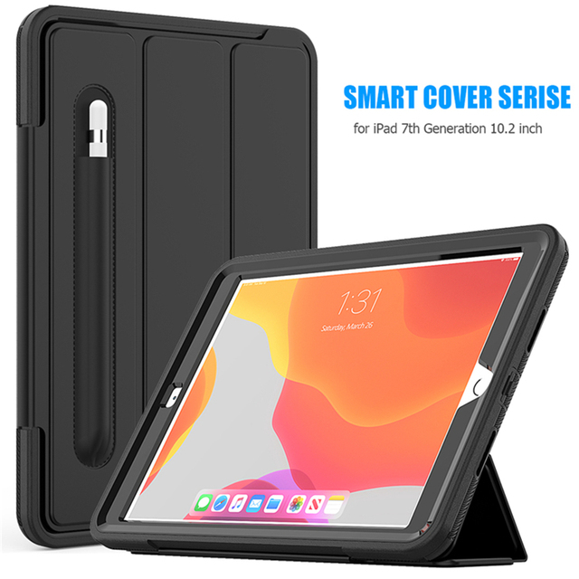 For iPad 7 2019  Case Pencil holder For apple iPad 10.2 inch tablet Kids Shockproof Heavy Duty TPU Hard Stand Cover A2197