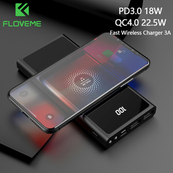 FLOVEME Power Bank 20000mAh For Xiaomi QC4.0 Type C PD3.0 3A Fast Wireless Charger PoverBank For iPhone12 External Battery