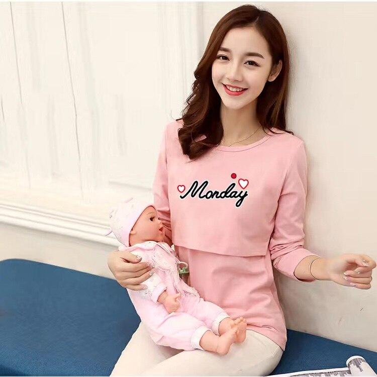 Cotton Cartoon Short Sleeve Casual Maternity Tops Feeding T-shirt Maternity Pregnancy Breastfeeding Clothes for Pregnant Women