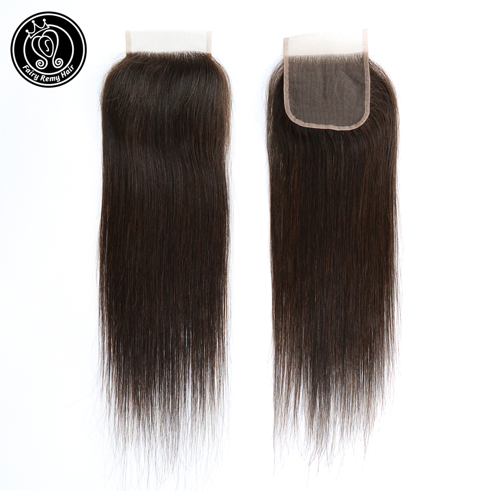 4*4 Lace Closure With Baby Hair 100% Indian Human Straight Remy Hair Weaving 18 Inch Highlights Color P1B/2 Fairy Remy Hair