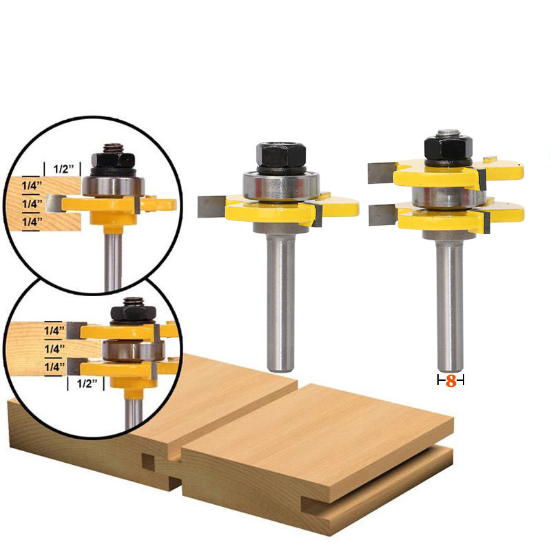 Tongue and Groove Router Bit Set 8mm Shank 3 Teeth Adjustable T Shape Wood Milling Cutter for Cabinet Doors