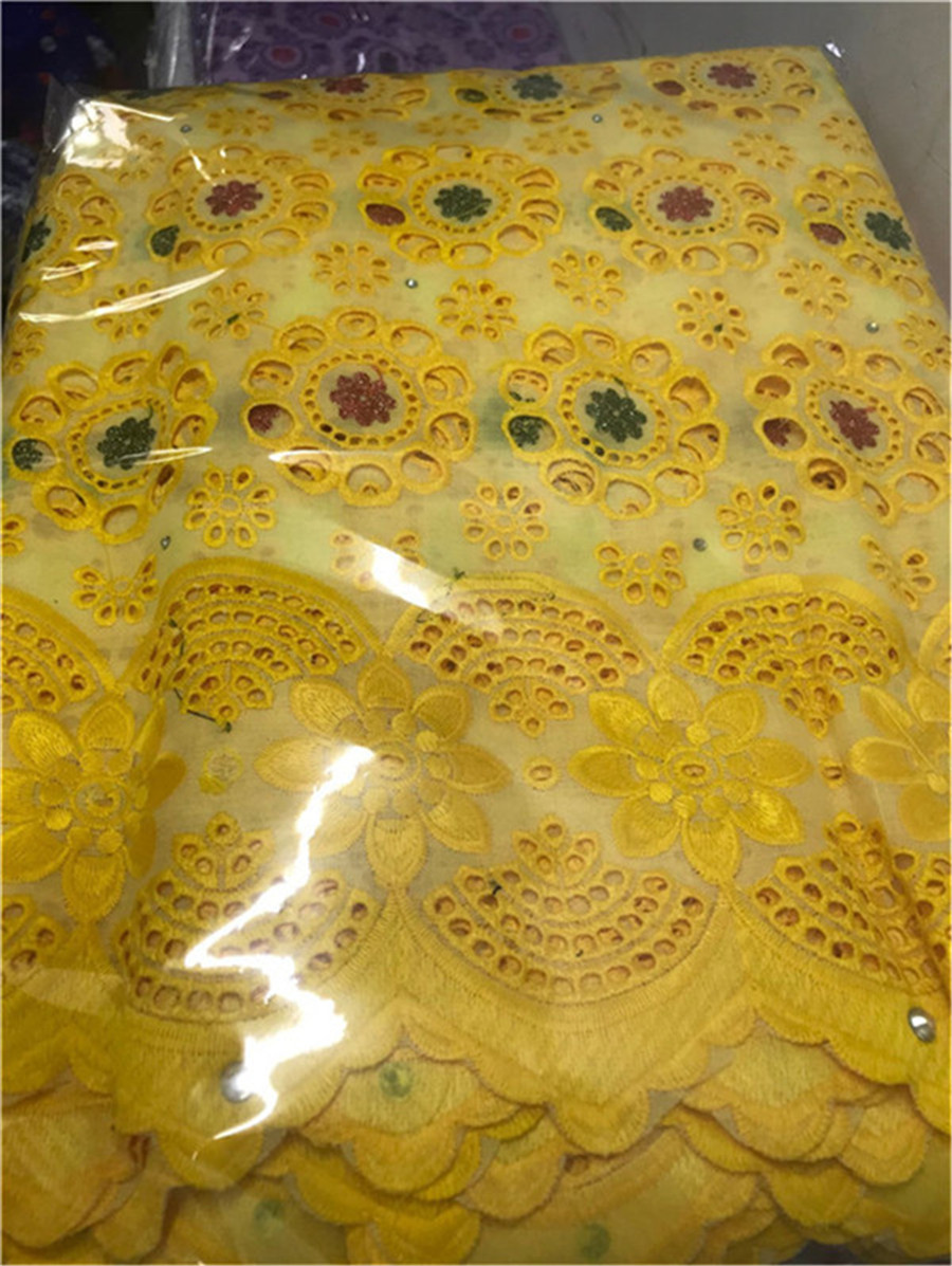 STILL FLY Yellow African Swiss Dry Voile Lace In Switznerland Wholesale African Brocade Lace Cotton Dry Lace 5yards/lot