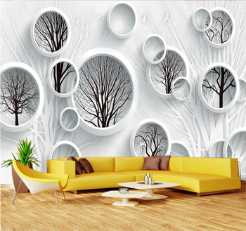 XUESU Fashion black and white abstract tree 3D TV background wall custom wallpaper simple covering