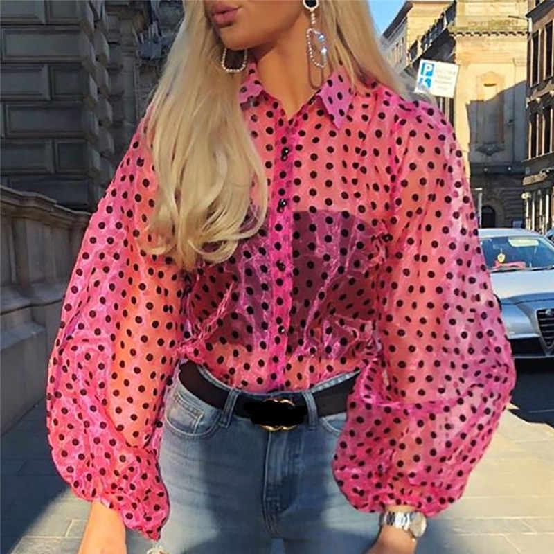 Hirigin Осенняя модная женская летняя повседневная Однотонная рубашка в горошек перспективный длинный рукав Черная кружевная сеточка Блузка Топы