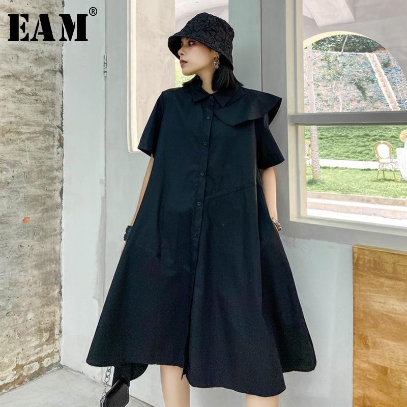 [EAM] Women Black Ruffles Split Joint Shirt Dress New Lapel Short Sleeve Loose Fit Fashion Tide Spring Summer 2020 1W954
