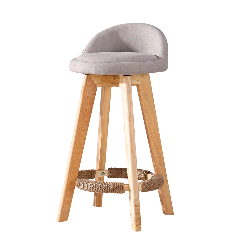 Solid Wood Bar Chair Beech Wood Retro Color White Rotating Bar Stool Bar Stool Bar Chair High Chair Front Desk Stool