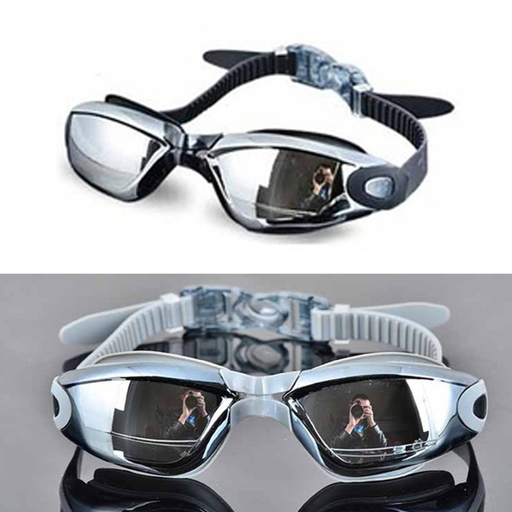 Anti-UV Anti-fog Electroplating Swimsuit Glasses Swimming Diving Adjustable Swimming Goggles Ladies Men Swimming Goggle Ear Plug