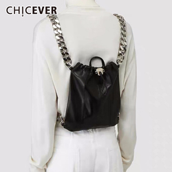 CHICEVER Drawstring Ruched Bag For Women Patchwork Metal Chain Bags Female Casual Clothing Accessories Summer Fashion New 2020