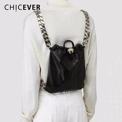 CHICEVER Kordelzug Geraffte Beutel Für Frauen Patchwork Metall Kette Taschen Weibliche Casual Kleidung Zubehör Sommer Mode Neue 2020