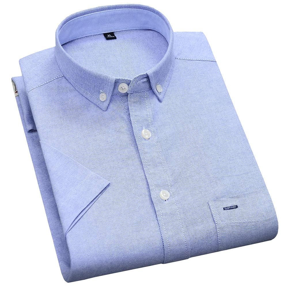Men's Summer Pure Cotton Oxford Shirts Casual Slim Fit Design Short Sleeve Fashion Male Blouse Shirt 4