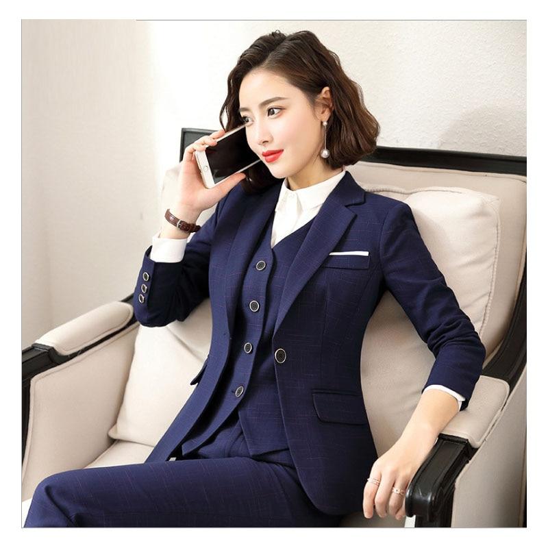 Work Pant Suits OL 2 Piece Set For Women Business Interview Suit Set Uniform Slim Blazer And Pant Office Lady Suit S-5XL