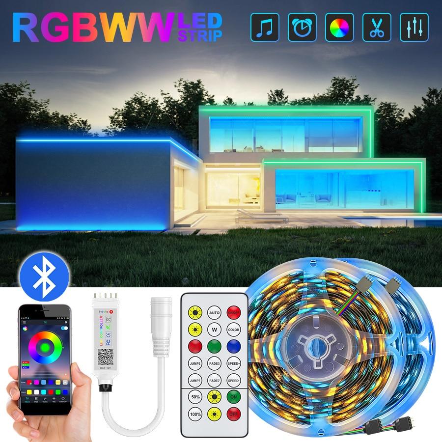 Светодиодный полосы светильник s 2835 RGB 5 м 10 м 15 м светодиодный светильник Bluetooth Гибкие светодиодные ленты светодиодный ленты украшение комна...