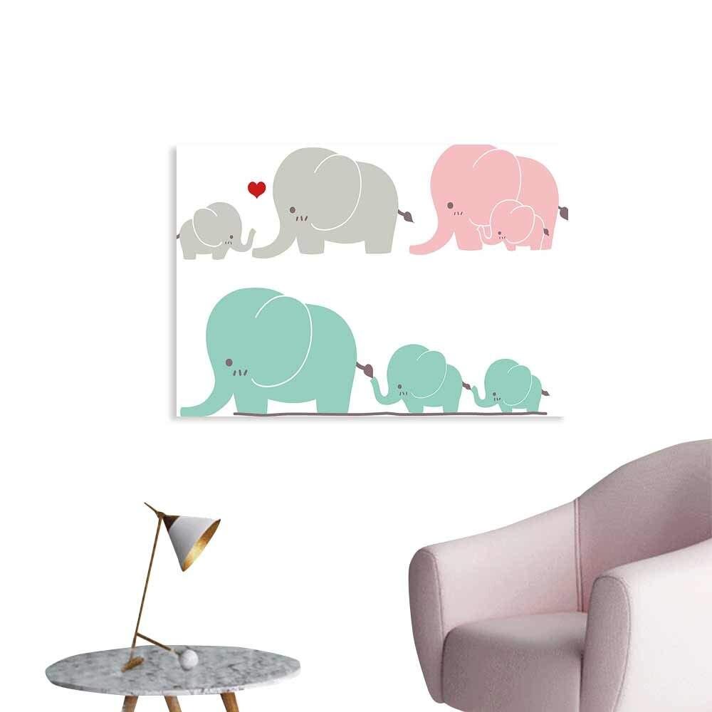 Dessin animé Animal affiche famille amour thème mignon doux éléphants fête des mères thème bébé enfants décor à la maison livraison directe