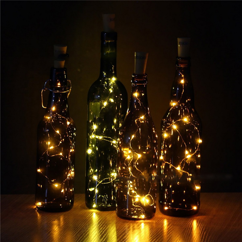0.75M 15LED Wine Cork Light Bottle Light Cork Shape Battery Copper Wire String Lights For DIY Christmas Party Wedding Decor