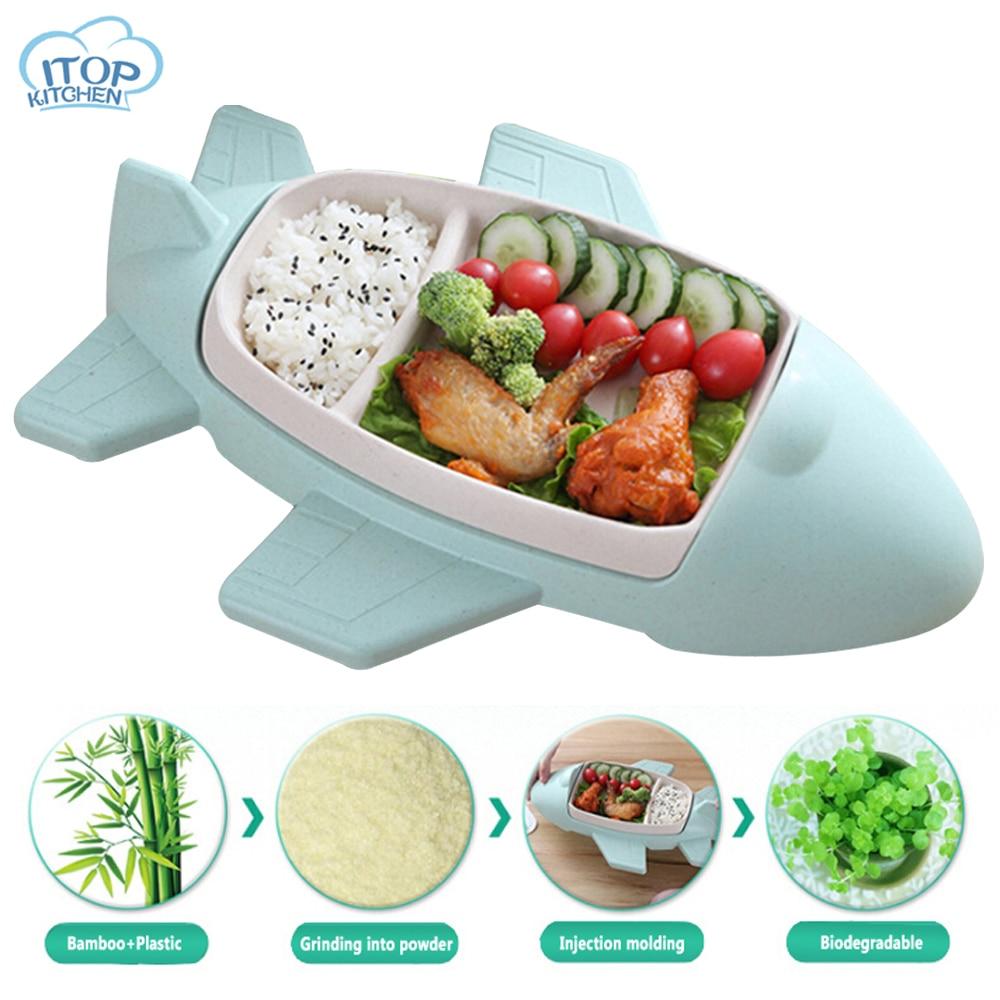 Aircraft Bamboo Fiber Cartoon Dinnerware Set Kids Tableware Plate Child Bord Bestek Feeding Cutlery Environmental Non Poisonous