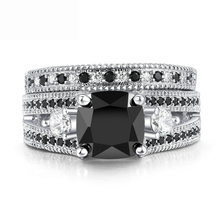 Natural Black Gemstone 925 Silver Color Zircon Diamond Rings For Women Wedding Engagement Ring Cubic Platinum Rings Jewelry Gift