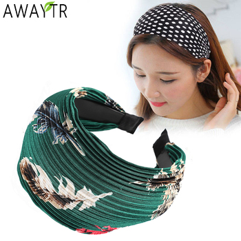 Wide Hairband Printing Dots Solid Turban Solid Elastic Hair Hoop Bands Head Hair Accessories Headband for Women Girls Headdress awaytr fashion wide hairband solid turban solid elastic hair head hoop bands hair accessories headband for women girls headdress