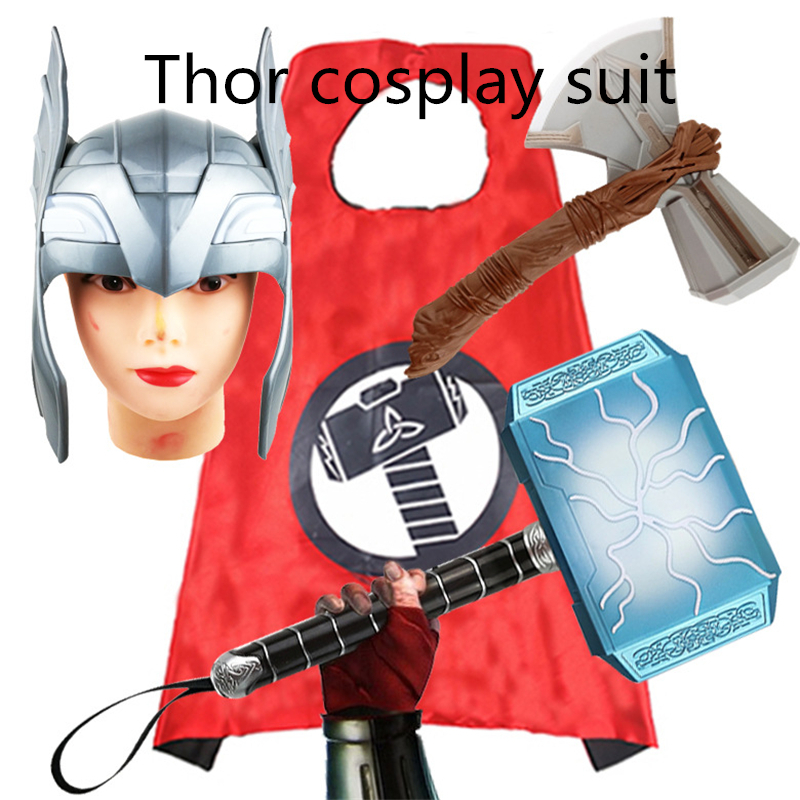 LED Glowing & Sounds LED Stormbreaker Hammer Mask Thor Action Figure Cosplay Toy