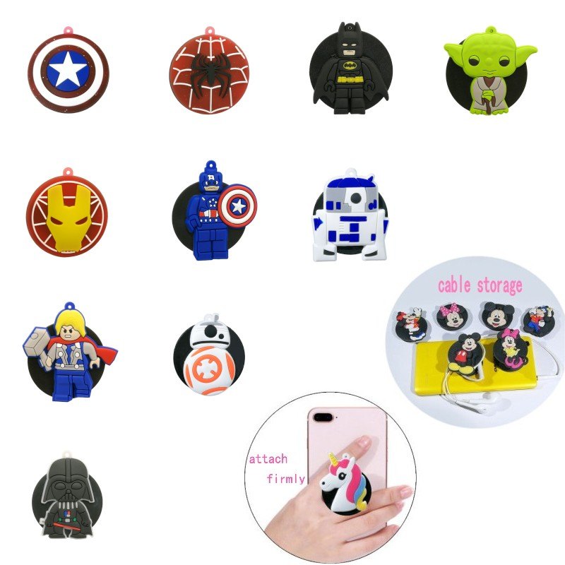 1pcs Superhero Universal Mobile Phone Bracket Star Wars Avenger Phone Holders&Stands Expanding Stand Yoda Phone Accessories
