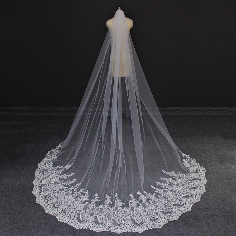 Cathedral 3 Meters Wedding Veil With Comb Lace Long Bridal Veil One Layer 3M Veil For Bride Wedding Accessories