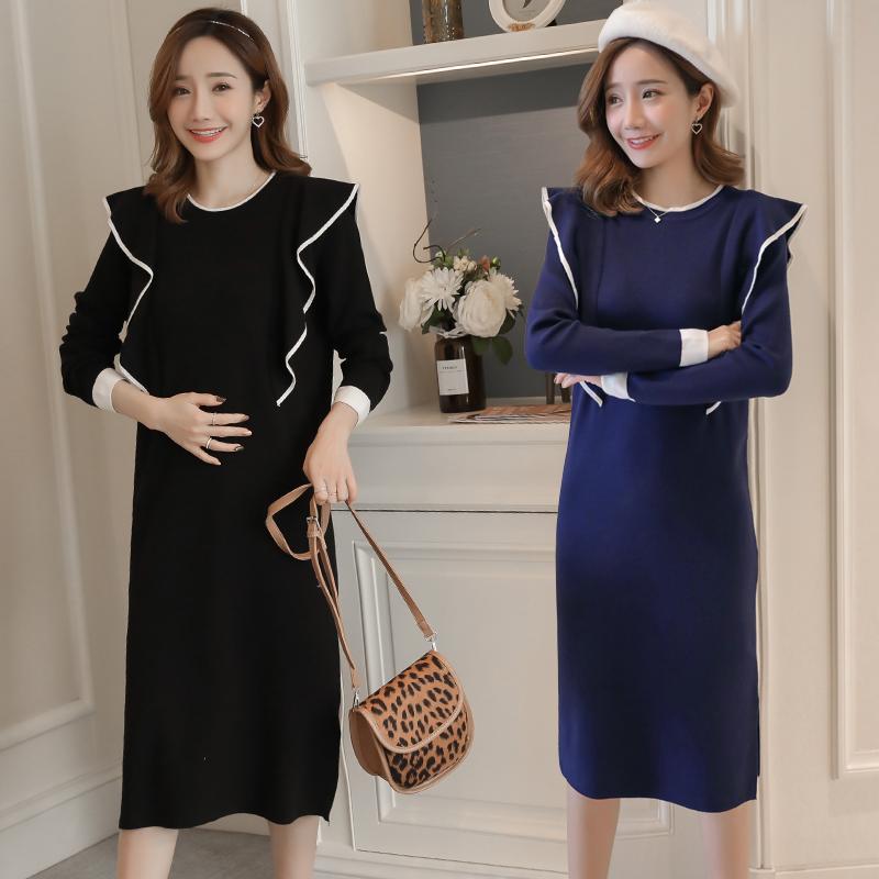 1033# Elegant Knitted Maternity Nursing Dress Autumn Winter Fashion Breastfeeding Clothes for Pregnant Women Pregnancy Feeding