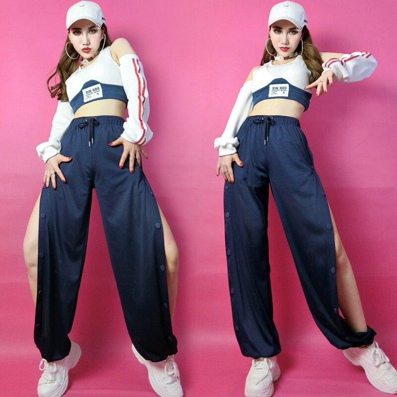 Female Student Jazz Dance Dance Costumes Performance Clothes Hip-Hop Street Dance Practice Room Split Casual Pants Suit SL4736