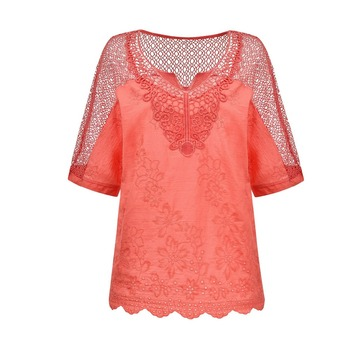 V Neck Flared Sleeves Mesh Patchwork Shirts Summer Plus Size Casual Loose Mesh Women Blouse Pink Street Womens Tops Blouses 5XL red round neck flared sleeves blouse