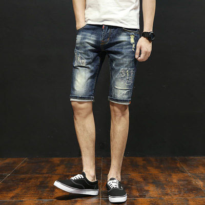 Denim Shorts Men's Five Pants Elastic Youth Slim Casual Summer Loose Pants Men's Breeches