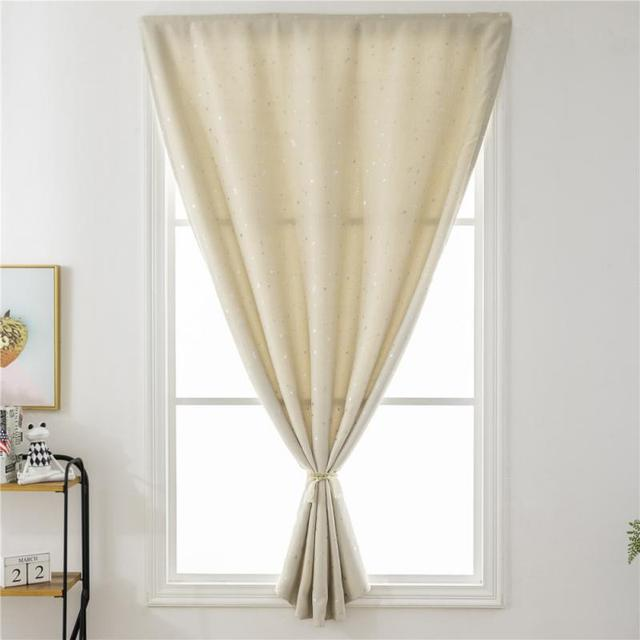 Shiny Silver Stars Print Blackout Window Curtains Shades Self-Adhesive Blinds for Bedroom Window Voile Tulle Curtains 2