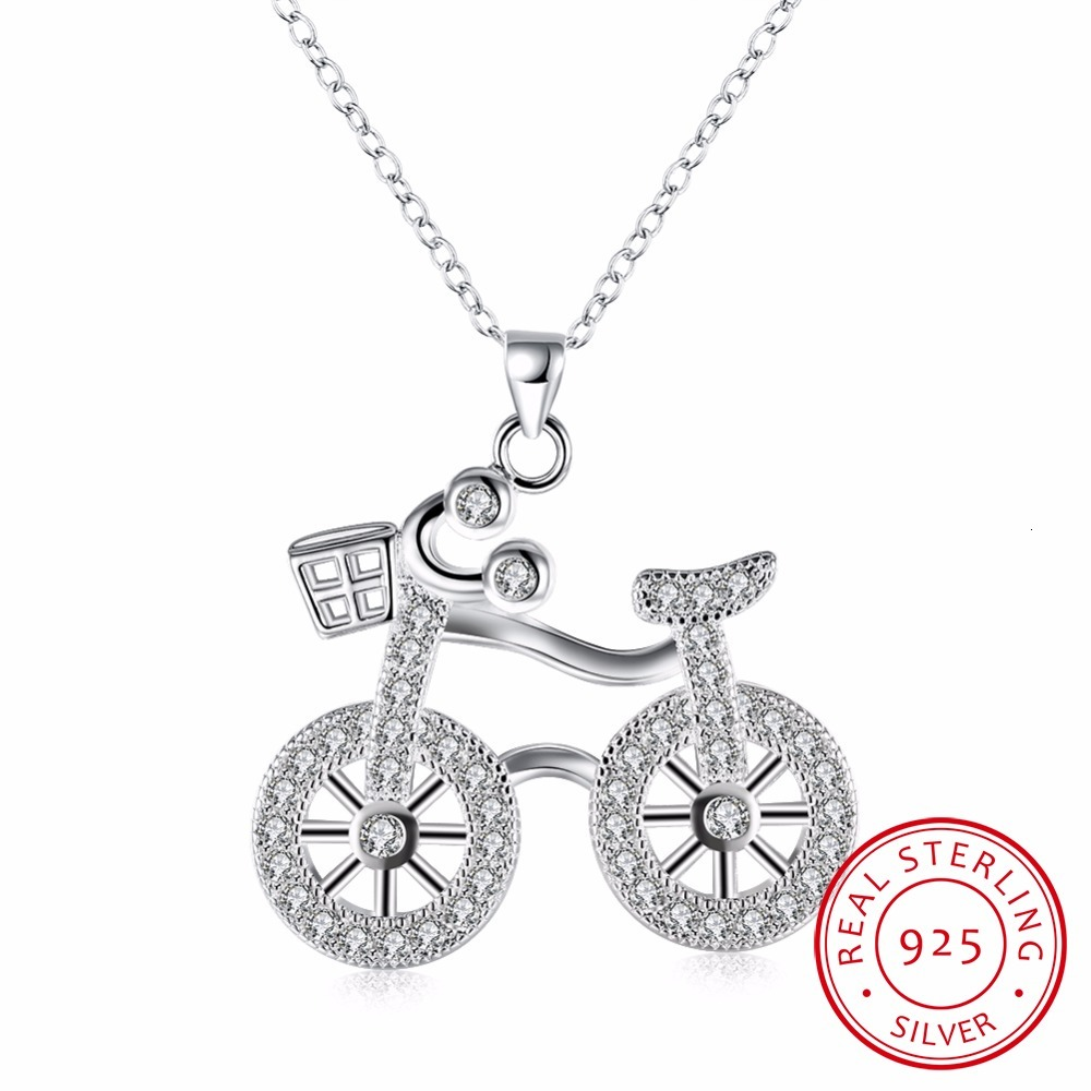 Lekani Real. 925 Sterling Silver Bicycle Cycle Necklace Pendant Bike With Clear Round Cz Aaa+ Rolo Chain Sterling-silver-jewelry