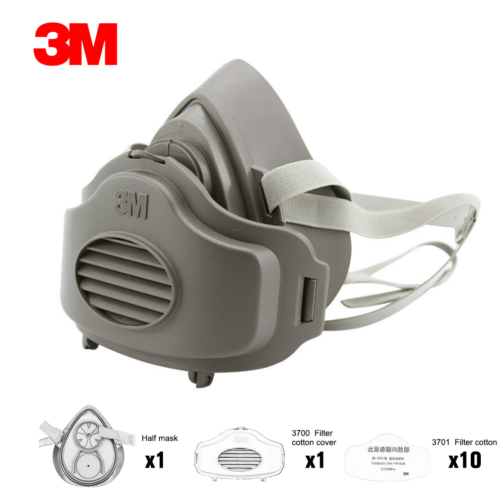 3M-Mascarilla con filtro de algodón 3200 3701CN, máscara tapabocas antigas de media cara, antipolvo, apta para construcción y entorno industrial, mascarilla de seguridad antiniebla, protección contra gases